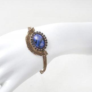 Bracelet Swarovski bleu-Dimitriadis-Louise d'or-Digne les Bains