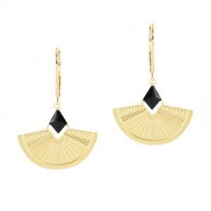 bijoutiers créteurs-boucles d'oreille noires-Laëti Trëma-Louise d'or