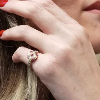 Bague-Bague perle-rubis-Or 18k-Louise d'or