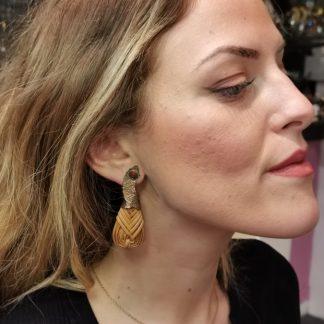 Boucles d'oreilles laiton etrotin-Boucles d'oreilles Digne les Bains-Louise d'or