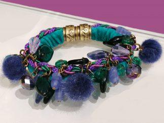 bracelet bleu pompons Dimitriadis
