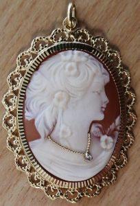 Louise d'or-bijou ancien-camée-occasion