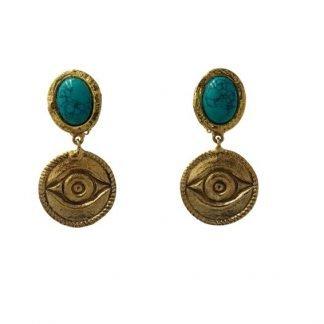 Bpoucles d'oreilles-turquoise-Niiki paris-Louise d'or-Digne les Bains