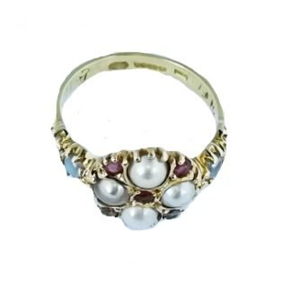 Bague ancienne-Perles-Rubis-Digne les Bains-Louise d'or