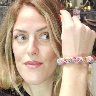 Bracelet tissus-Swarovski-Bracelet femme-Bijou Digne les Bains-Louise d'or