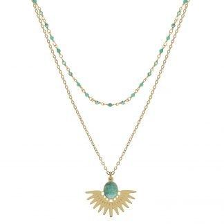 Collier-Fantaisie-turquoise-Louise d'or-Laëti trëma-Digne les Bains