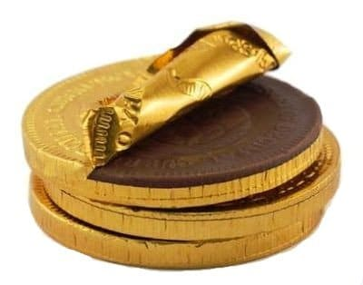 achat or et argent-pièce en chocolat-rachat-Louise d'or