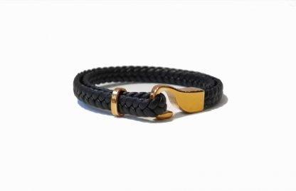 Bracelet homme cuir-Bracelet cuir et acier-Bracelet homme Digne les Bains-Louise d'or