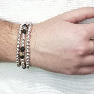 bracelet homme argent-Bracelet elastique homme-Biju homme argent-Louise d'or