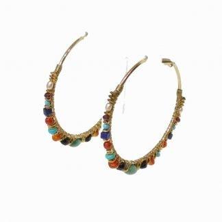 Créoles-Pierres semi précieuses-Boucles d'oreilles créoles-Créoles originales-Louise d'or-Digne les Bains