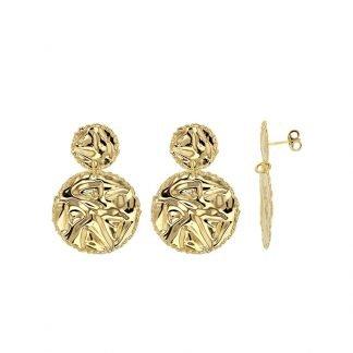 Boucles d''oreilles argent martellée-bijoux argent doré-Boucles effet martellé-Digne les Bains-Louise d'or