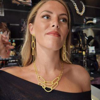 Collier argent doré 2 rangs-Collier fantaisie argent doré-Louise d'or-Digne les Bains