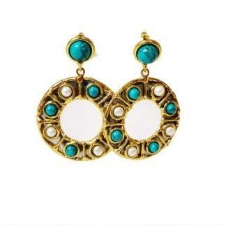 Boucles d'oreilles perles et turquoises NIIKI Paris-Bouces d'oreilles fantaisie turquoises-Turquoises-Digne les bains