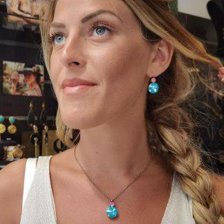 Collier pendentif swarovski turquoise et rose-Bijou fantaisie Digne les Bains