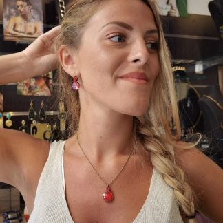 Collier pendentif swarovski rouge-Louise d'or-Digne les Bains